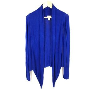 Chico's asymmetrical waterfall cobalt cardigan